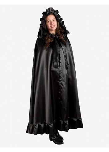 Mantello nero con cappuccio dama veneziana